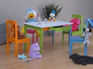 5tlg bunte kinder sitzgruppe tisch 4 st hle kiefer. Black Bedroom Furniture Sets. Home Design Ideas