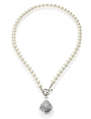 M&S Collection Pearl Effect Diamanté T-Bar Necklace