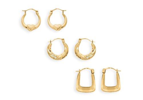 9ct Yellow Gold Creole Earrings Set
