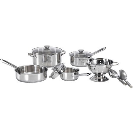 WearEver Cook and Strain 10-Piece Stainless Steel Cookware Set (Wearever Stainless Cookware Set compare prices)