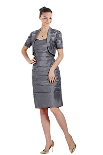 8bff9861 Mollybridal Lace Knee length Mother of the Bride Dress With Jackets Gray 12