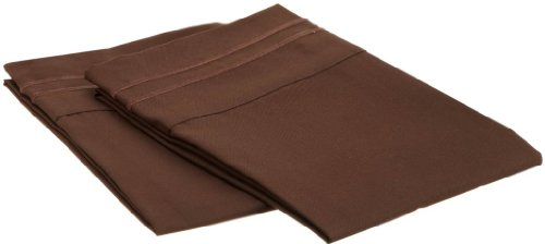 Clara Clark ® Supreme 1500 Collection Set Of 2 Pillowcases, King Size, Chocolate Brown front-953539