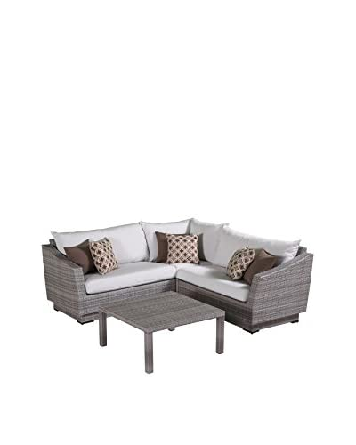 RST Brands Cannes 4-Piece Corner Sectional and Table, Cream