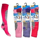 3 Pack Childrens/Girls High Performance Ski Socks With Extra Cushioning, Shin Protection, Assorted Colours, UK: 12.5-3.5, EUR: 31-34