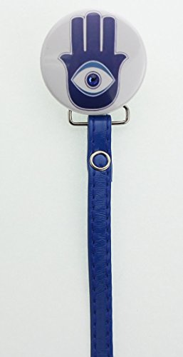 Hamsa Pacifier Clip With Matching Blue Leather (LHA)