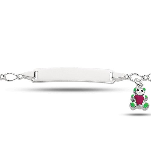 Baby Id Fancy Link Bracelet With Teddy Bear In Sterling Silver (6 Inches)