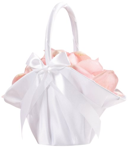Lillian Rose 9.5-Inch Satin Flower Basket, Large, White