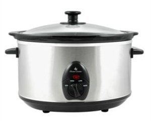 Lloytron- 3.5ltr Oval Slow Cooker - Brushed Steel