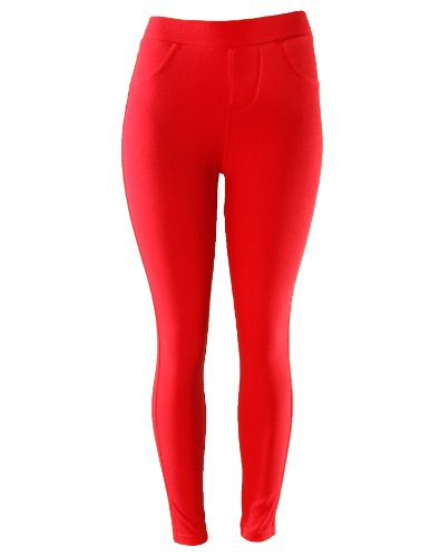 Comfortable Sexy Solid Color Stretch Legging Pant with Two Back Pockets Excellent for Everyday Use (Red)