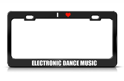 Electronic Dance Music Music Musical Instrument Black Metal License Plate Frame Tag Border