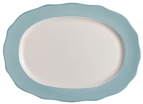 Jamie Oliver Fluted Blue Large Oval Serving Dish with Blue Rim, Stoneware