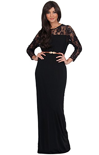 Koh Koh Women'S Long Sleeve Lace Slimming Tube Evening Cocktail Maxi Dress With Belt - X-Large - Black