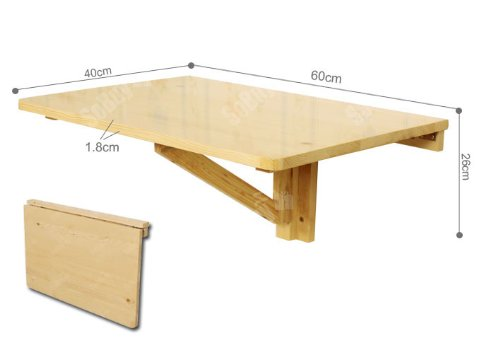 Solid wood wall mounted drop leaf table folding kitchen for Table rabattable murale conforama