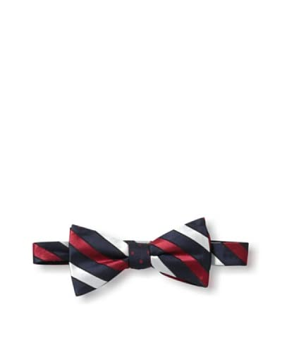 Ben Sherman Men's Reversible Pre-Tie Thick Stripe & Dot Bow Tie, Navy/Red