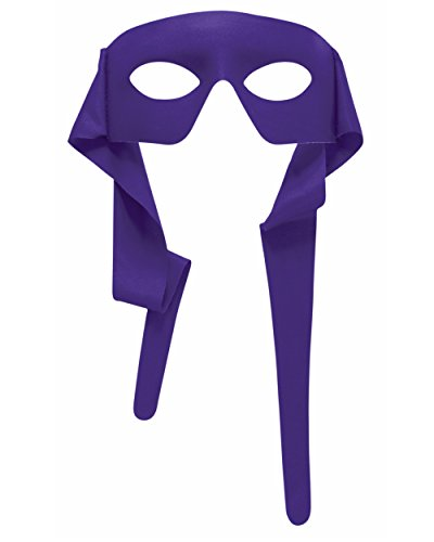 Mens Purple Masked Man With Ties Venetian Mardi Gras Mask Costume Accessory