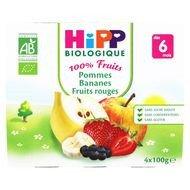 Hipp - Coupelles pomme banane et fruits rouges bio, dès 6 mois, 4x100g