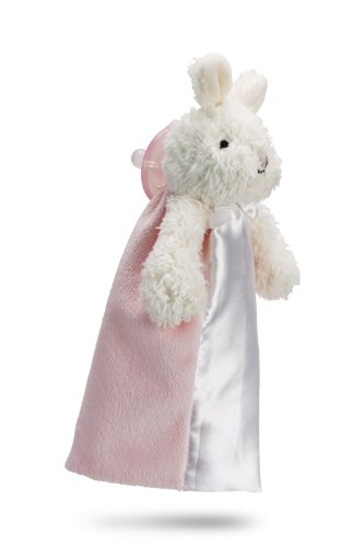 Friendly Pacifier Satin Blanket With Detachable Pacifier, Pink Bunny front-157948