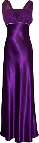 Satin Chiffon Holiday Bridesmaid Long Formal Gown Crystals Junior Plus Purple 3X