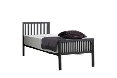 Boston Single Metal bed (3ft) in Textured Black with Quilted Mattress