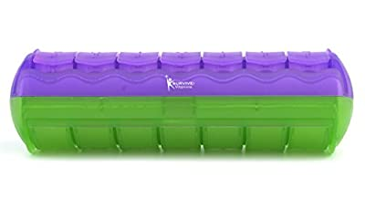 Survive Vitamins 7 Day AM PM Pill Organizer Made of Plastic Pill Box in Translucent Purple and Translucent Lime Color 1 Picece of This Pill Case