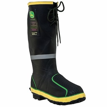 John Deere Work Boots Mens Miner MET Steel Toe Waterproof Black JD4920