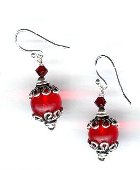 Vintage Red Glass Trade Bead and Swarovski Crystal Earrings