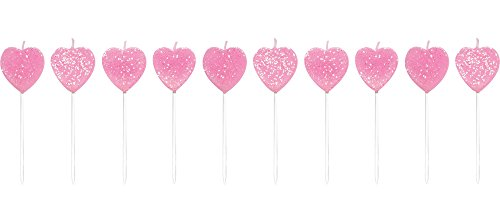 Creative Converting 10 Count Pick Sets with Glitter Cake Candles, Hearts, Pink - 1