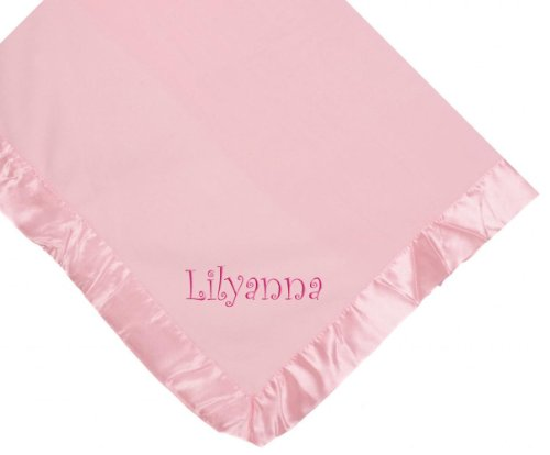 Custom Embroidered Monogrammed Girl Name Pink Fleece Personalized Baby Blanket Yellow Thread front-864272