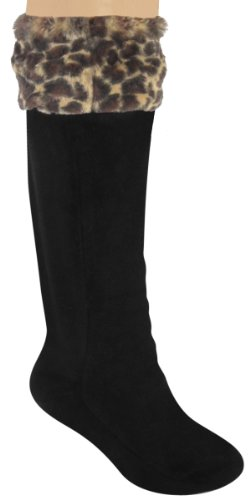 Capelli New York Ladies Tall Rainboot Liner With Plush Leopard Faux Fur Cuff Natural Combo Large (Plush Boot Liner compare prices)