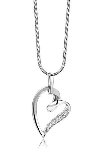 Miore-Damen-Halskette-Herz-925-Sterling-Silber-8-Zirkonia-farblos-45-cm