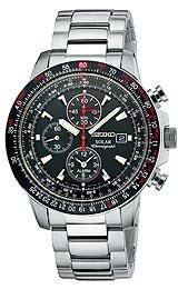 Seiko Solar Alarm Chrono Slide Rule Black Dial Men's watch #SSC007
