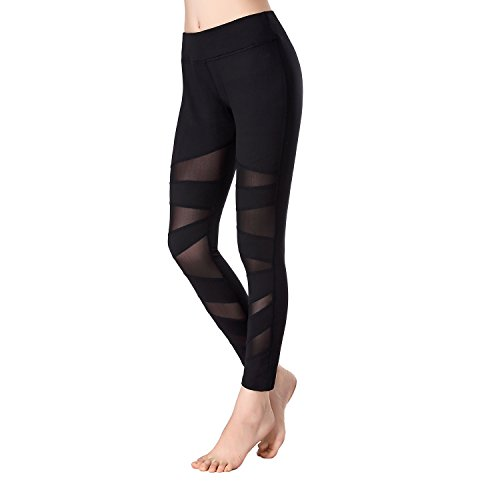 Beepeak Women's Mesh Workout Tights Gym Sports Yoga Pant Leggings XL Black