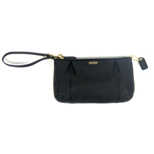 Coach   Coach Campbell Leather Large Wristlet Black F50796