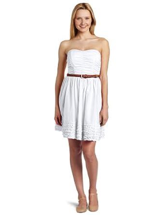 My Michelle Juniors Strapless Short Dress, White, 3