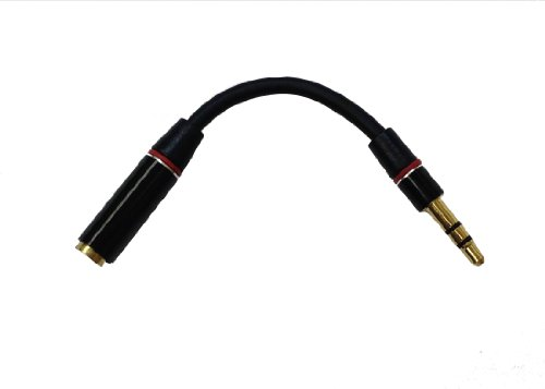 D & K Exclusives® Red/Black 3.5Mm Male To 3.5Mm Female Audio Adapter Converter Headphone Earphone Headset Jack - Stereo Or Mono (Black-3.5)