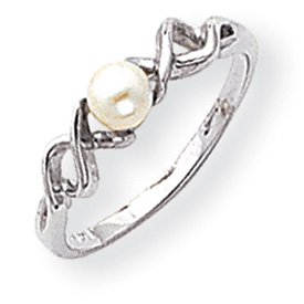 Genuine IceCarats Designer Jewelry Gift 14K White Gold 4Mm Pearl Ring Size 6.00