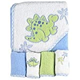 Spasilk 100% Cotton Hooded Terry Bath Towel with 4 Washcloths, Dinosaur Blue/Green