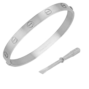 Stainless Steel White Gold Silver-tone Screw Design Womens Bangle Bracelet with Screwdriver