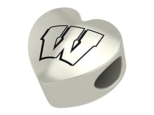 Wisconsin Badgers Sterling Silver Heart Bead Fits Most European Style Bracelets