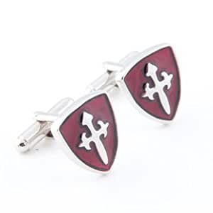 GNG Novelty Cufflinks Hero of Sparta Cross Shield Style+gift Bag