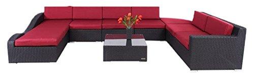 Outflexx Möbel XXL-Sofagruppe Polyrattan abgeschrägt w1, schwarz online bestellen
