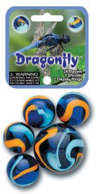 Dragonfly Game Net Set 25 Piece Glass Mega Marbles Toy - 1
