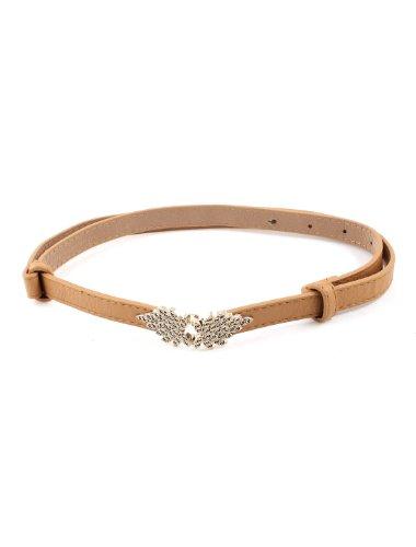 Lady Leaves Shape Interlocking Buckle Faux Leather Adjustable Belt