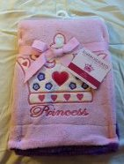 "Embroidered ""Crown Hearts"" Soft Plush Reversible Blanket"