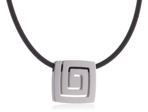 Pure Grey Signs No. 31384 Ladies' Necklace Rubber Cord with Titanium Bayonet Clasp and Titanium Pendant 45 cm