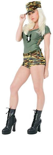 Playboy Womens Bootcamp Babe Jumpsuit Miltary Outfit Fancy Dress Sexy Costume