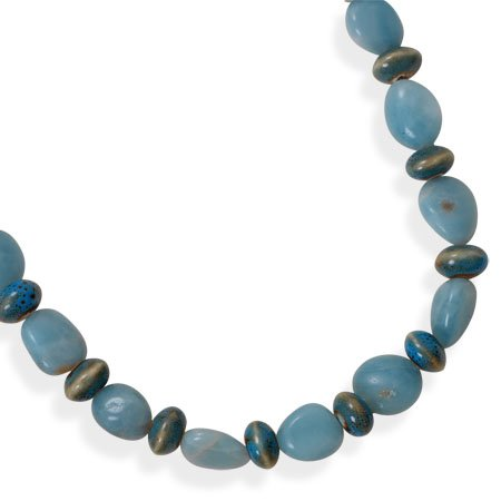 Sterling Silver 16 Inch+2 Inch Amazonite and Ceramic Bead Necklace - 16 Inch - JewelryWeb