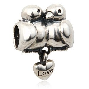 Everbling Love Birds Dangle Authentic 925 Sterling Silver Bead Fits Pandora Chamilia Biagi Troll Charms Europen Style Bracelets
