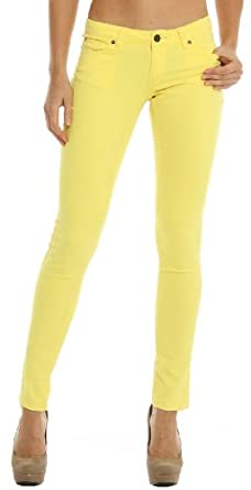 Hey Collection Women's Brushed Stretch Twill Skinny Jeans with Studs S Yellow