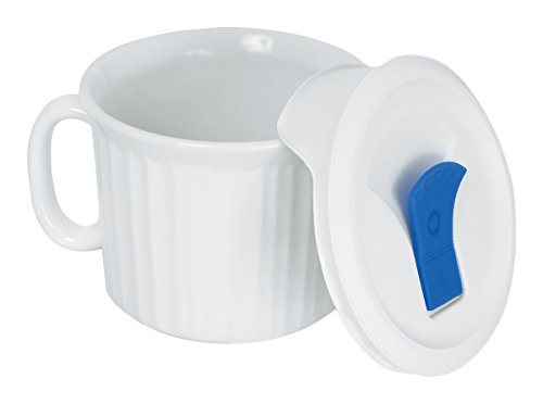 Corningware 20-Ounce Oven Safe Meal Mug with Vented Lid, French White (Glass Mug Microwavable compare prices)